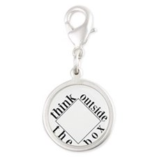 Think Outside the Box Silver Round Charm