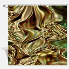 Green and Gold Shower Curtain