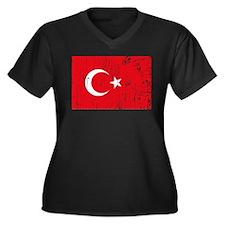 Vintage Turkey Women's Plus Size V-Neck Dark T-Shi