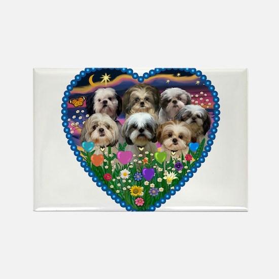 Shih Tzus in Heart Garden Rectangle Magnet