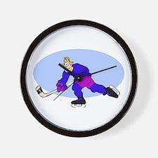 Angry hockey man Wall Clock
