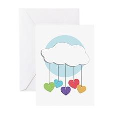 Raining Hearts Greeting Cards