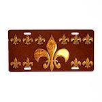 Old Leather with gold Fleur-de-Lys Aluminum Licens