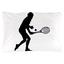 Tennis Player Silhouette Pillow Case