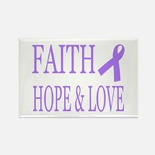 Faith Hope Love All Cancers Lavender Magnets