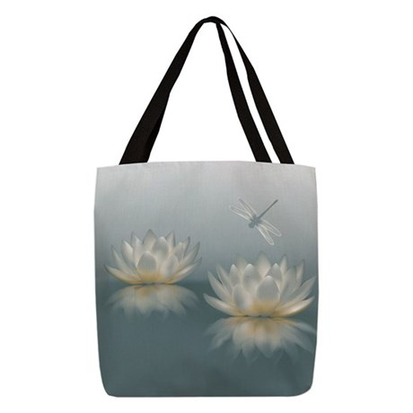 Lotus and Dragonfly Polyester Tote Bag