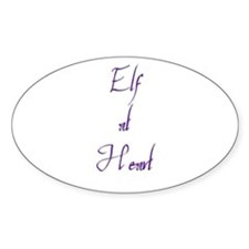 Elf At Heart 2 Oval Decal