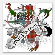 "MacPherson Tartan Lion Square Car Magnet 3"" x 3"""