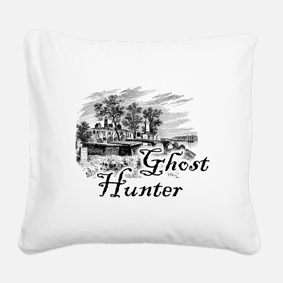 Ghost Hunter Cemetery Square Canvas Pillow