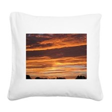 Flaming Sky Square Canvas Pillow