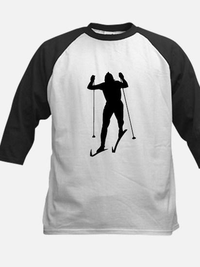 Cross Country Skier Silhouette Baseball Jersey