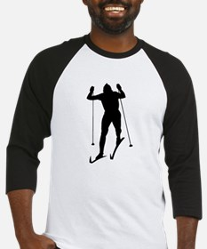 Cross Country Skier Silhouette Baseball Jersey