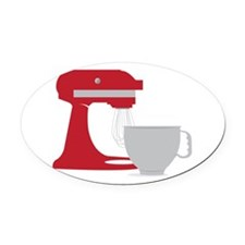 Red Stand Mixer Oval Car Magnet