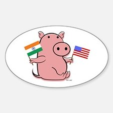 USA AND INDIA Oval Decal