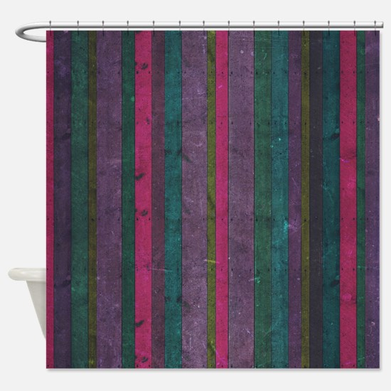 Colorful Wooden Stripes Pattern Shower Curtain
