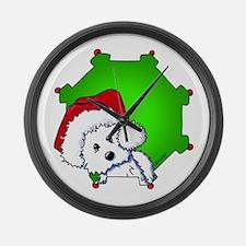 Christmas Santa Westie Large Wall Clock