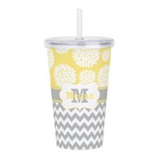 Gray Yellow Chevron Blooms Personalized Acrylic Do
