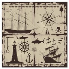 Set Of Nautical Design Elements Poster