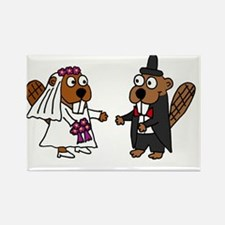 Beaver Wedding Rectangle Magnet