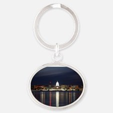 Skyline Of Madison Wisconsin At Nigh Oval Keychain