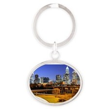 skyline of Uptown, the Financial Dis Oval Keychain