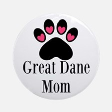 Great Dane Mom Paw Print Ornament (Round)