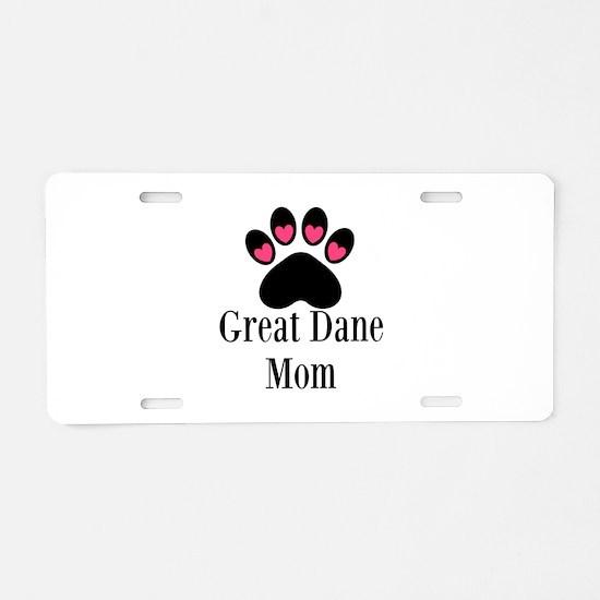 Great Dane Mom Paw Print Aluminum License Plate
