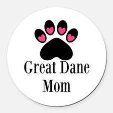 Great Dane Mom Paw Print Round Car Magnet