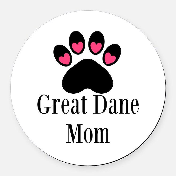 Great Dane Mom Paw Print Round Car Magnet