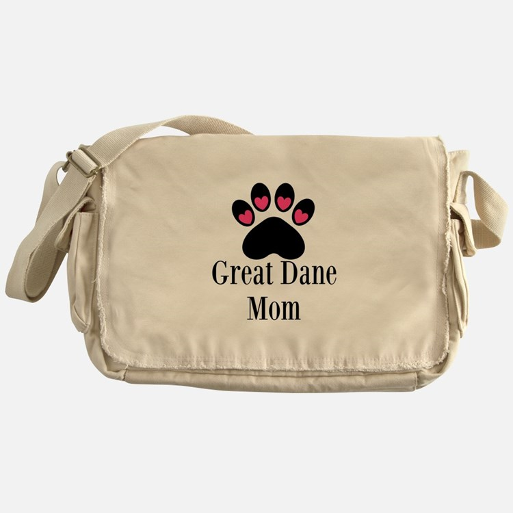Great Dane Mom Paw Print Messenger Bag