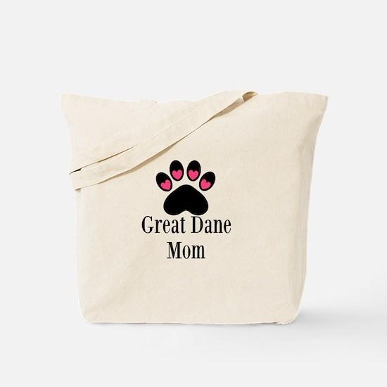 Great Dane Mom Paw Print Tote Bag