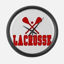 Lacrosse Red Large Wall Clock