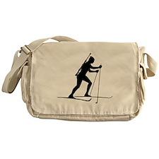 Biathlete Silhouette Messenger Bag