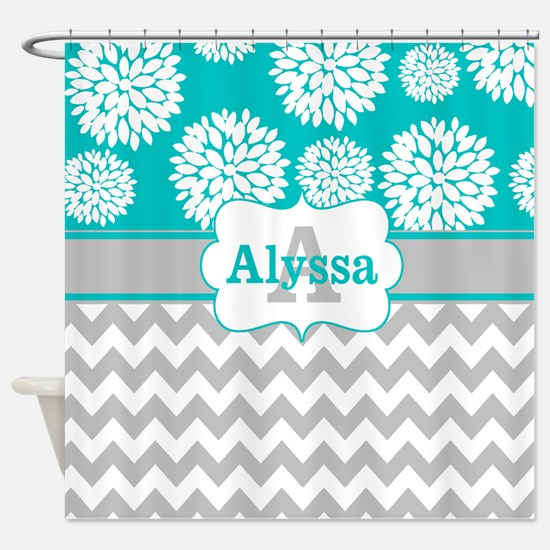 Gray Teal Chevron Blooms Personalized Shower Curta