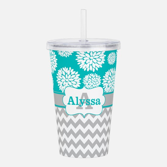 Gray Teal Chevron Blooms Personalized Acrylic Doub
