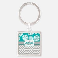Gray Teal Chevron Blooms Personalized Keychains