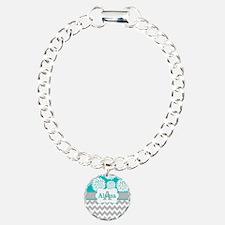 Gray Teal Chevron Blooms Personalized Bracelet