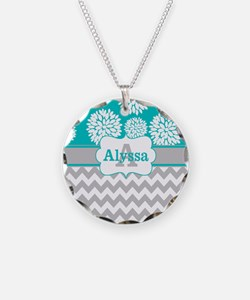 Gray Teal Chevron Blooms Personalized Necklace
