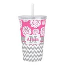 Gray Pink Chevron Blooms Personalized Acrylic Doub