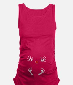 Baby Hands and Feet with Heart Maternity Tank Top