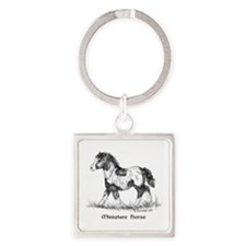 Miniature Horse Square Keychain