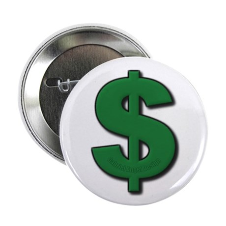 "Green Dollar Sign 2.25"" Button (10 pack)"