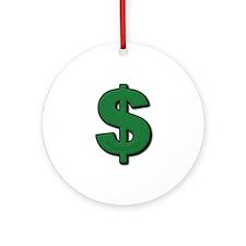 Green Dollar Sign Ornament (Round)