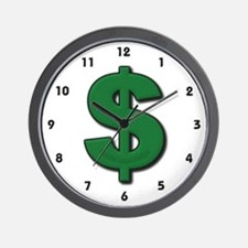 Green Dollar Sign Wall Clock