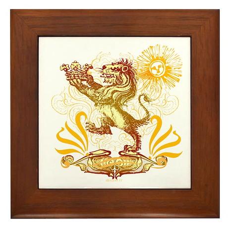 Lion Graphic 3 Framed Tile