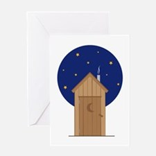 Nighttime Outhouse Greeting Cards