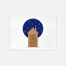 Nighttime Outhouse 5'x7'Area Rug