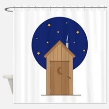 Nighttime Outhouse Shower Curtain