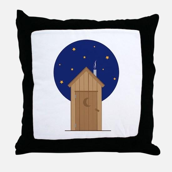 Nighttime Outhouse Throw Pillow
