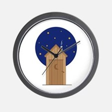 Nighttime Outhouse Wall Clock
